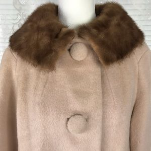 Vintage Real Wool & Fur Collar Trench Coat